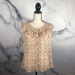 Old Navy sheer button up off shoulder blouse